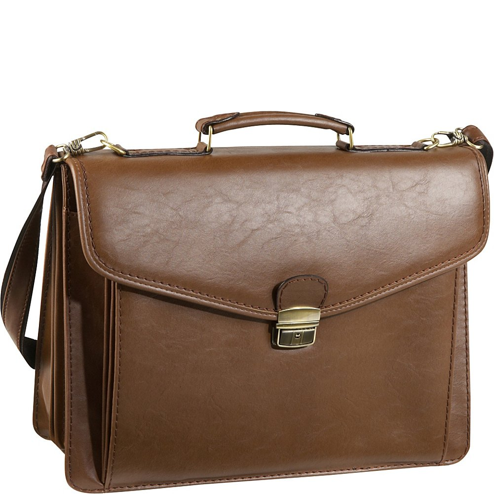 Amerileather Cleveland Executive Faux Leather Briefcase Brown 2520-8