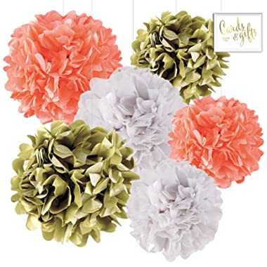 Andaz Press Hanging Tissue Paper Pom Poms Party Decor Trio Kit with Free Party Sign, Gold, Coral, White, 6-Pack, For Wedding Bridal Shower Engagement Shower Decorations
