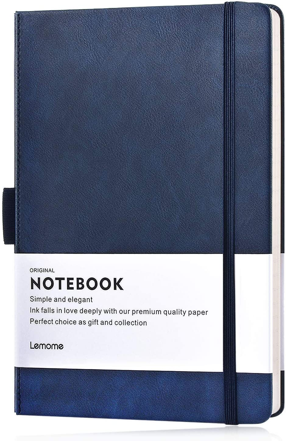 Lemome Thick Classic Notebook with Pen Loop A5 Wide Ruled Hardcover Writing Notebook with Pocket + Page Dividers Gifts, Banded, Large, 180 Pages, 8.4 x 5.7 in