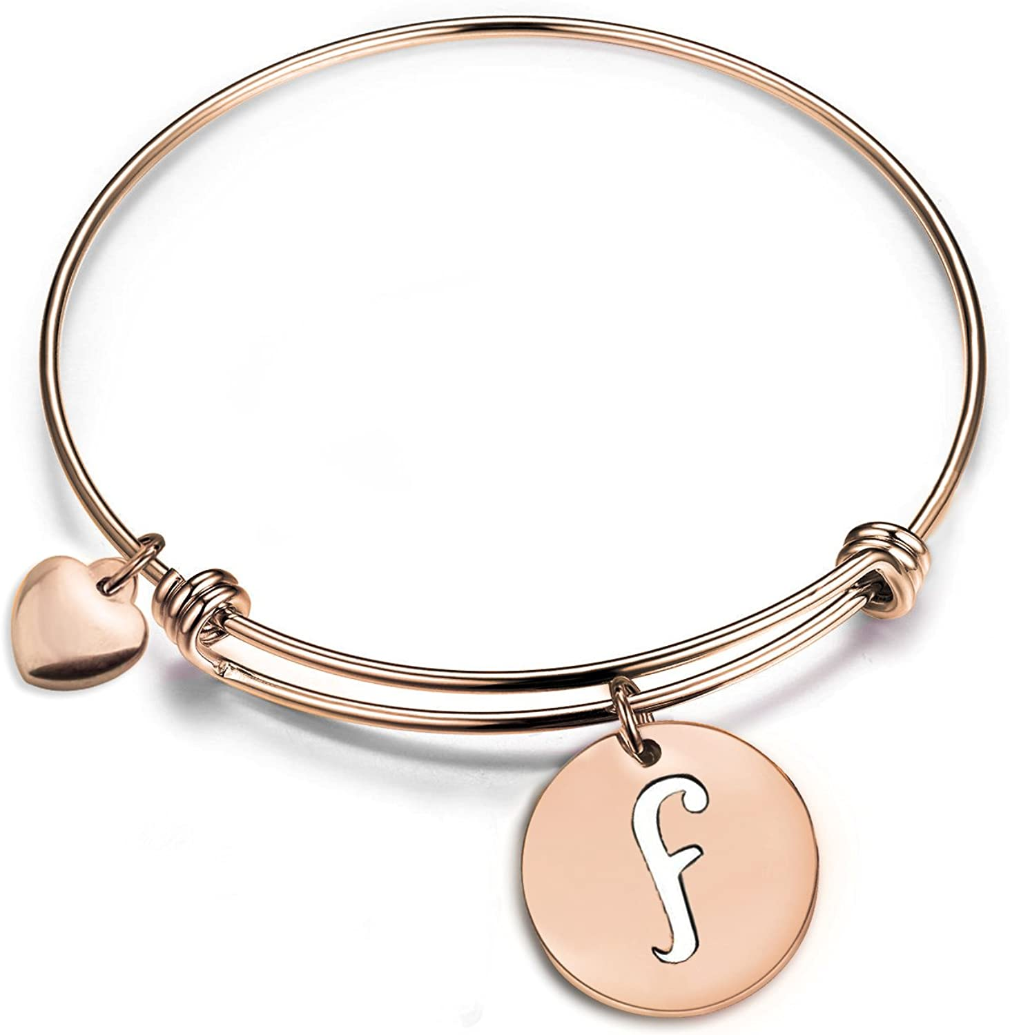 Zuo Bao Rose Gold Initial Disc Expandable Wire Bracelet Bangle with Heart Charm
