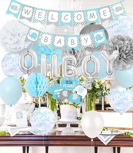 Adornos Globos De Elefantes Banner Set Para Baby Shower Niño Decoraciones Fiesta