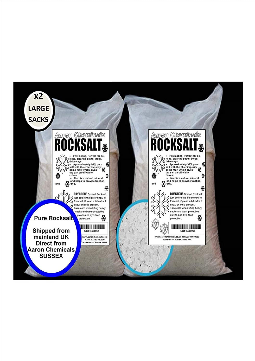 4806e8d8841 Rock Salt WHITE 2 x 25kg by Aaron Chemicals HIGH QUALITY deicing rock salt  NEXT-DAY DELIVERY OPTION £3 !! (Clears Snow and lce from Driveways and  Paths)