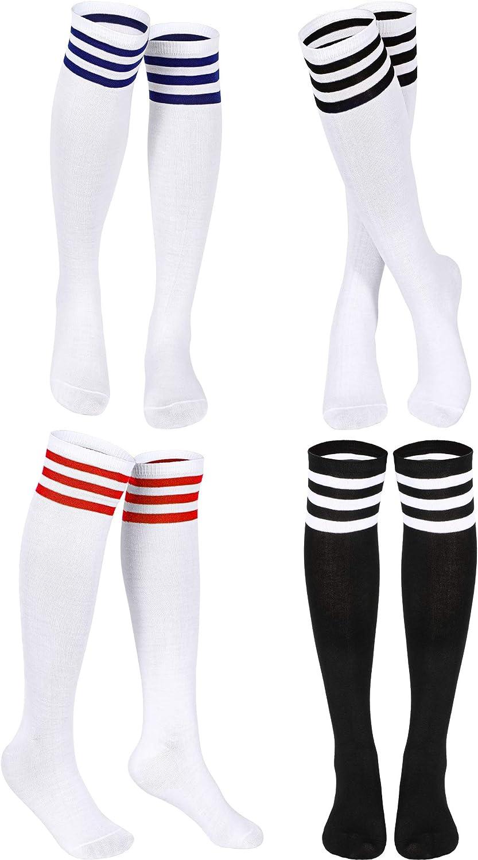 Triple Stripes Knee Socks Unisex Cotton Three Stripe High Tube Socks (White in Red/Black/Blue Stripe, Black in White Stripe, 4)