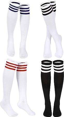 Cotton Blend Three Stripe Soccer Style Over The Knee Socks