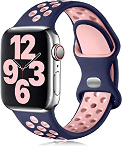 Vcegari Sports Band Compatible with Apple Watch 38mm 40mm, Soft Breathable Silicone Strap for iWatch SE Series 6 5 4 3 2 1, Blue/Pink M/L