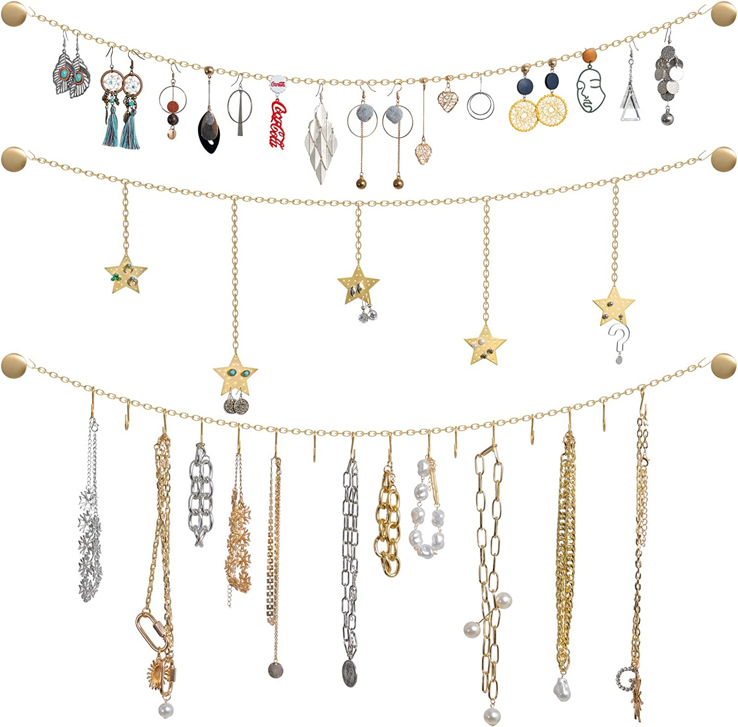 Mkono Wall Hanging Jewelry Organizer with Stars Garland Metal Jewelry Earring Holder with 16 Hooks Stylish Storage and Display Rack for Necklaces Bracelets Rings Home Decor, Gold