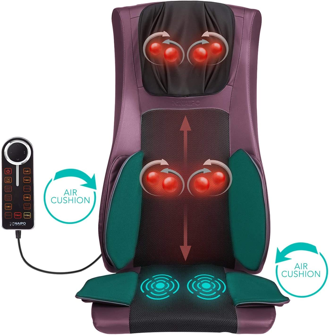 Naipo Back and Neck Massager Shiatsu Massage Chair Seat Cushion Pad with Heat Air Compression and Vibration for Ultimate Stress Relief of Neck Back Thighs and Hips Purple