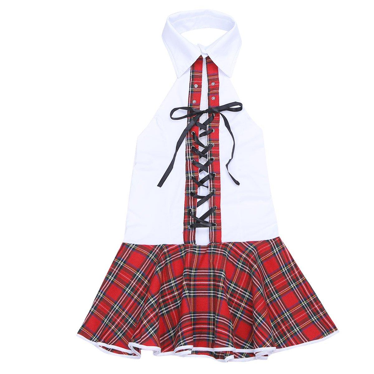 iiniim Women Lingerie Set Role Play Cute Schoolgirl Plaid Uniform Student Costumes Outfit