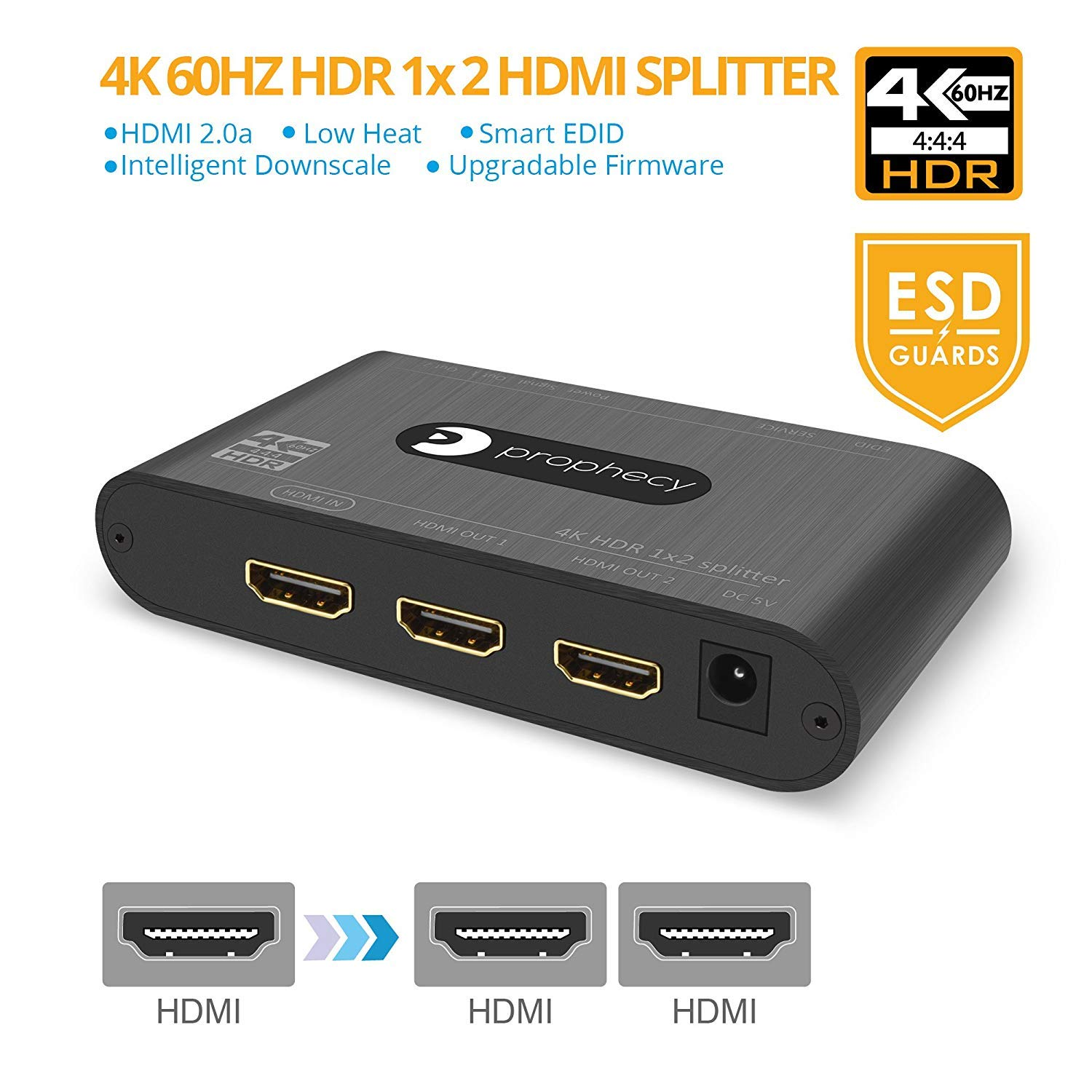 gofanco Prophecy Intelligent 4K 60Hz HDR 1x2 HDMI 2 0 Splitter ? YUV 4:4:4,  3D, HDMI 2 0a, HDCP 2 2, EDID, 18Gbps, Auto Scaling, Low Heat, Cascadable,