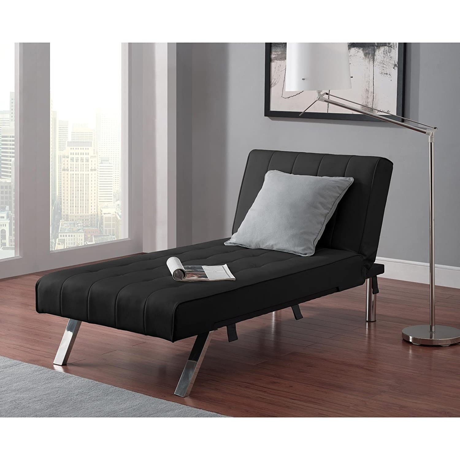 Amazon Emily Futon with Chaise Lounger super bonus set BLACK