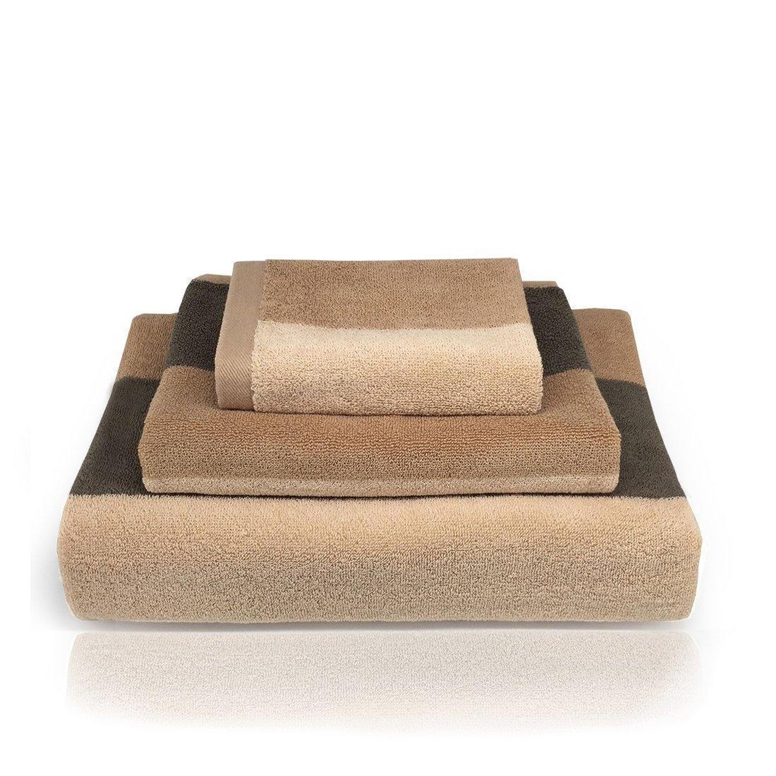 Ynester 3pezzi Set asciugamani in cotone 100%, naturale Eco Luxury Stripe super soft pettinato di alta qualità, asciugamani assorbente asciugamano, telo da bagno e asciugamano da bagno per hotel spa bagno, 100% Cotone, Brown, 13x13 / 13x30 / 28x54 M001UK