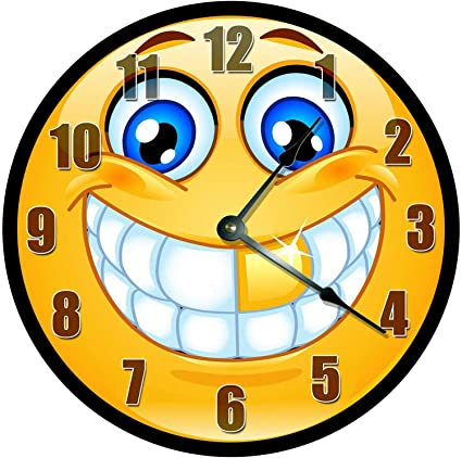 Amazon com: 128 buyloii Grinning Emoji with Gold Tooth Clock