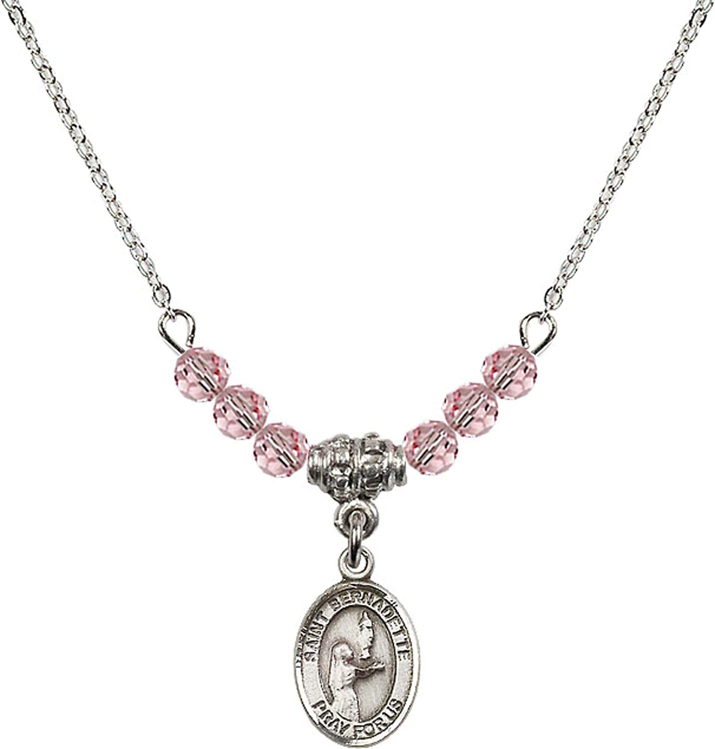 Bonyak Jewelry 18 Inch Rhodium Plated Necklace w// 4mm Light Rose Pink October Birth Month Stone Beads and Saint Bernadette Charm