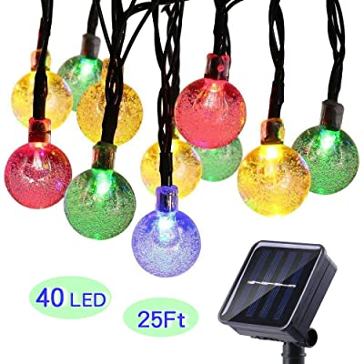 ECOWHO Solar String Lights Outdoor, 25ft 40 LED Solar Powered Fairy Waterproof Crystal ball String Lights for Garden Patio Wedding Party Holiday Decoration( Multi-color ) : Garden & Outdoor