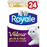 Royale Velour, Plush & Thick Toilet Paper, 12 Double equal 24 rolls, 142 bath tissues per roll