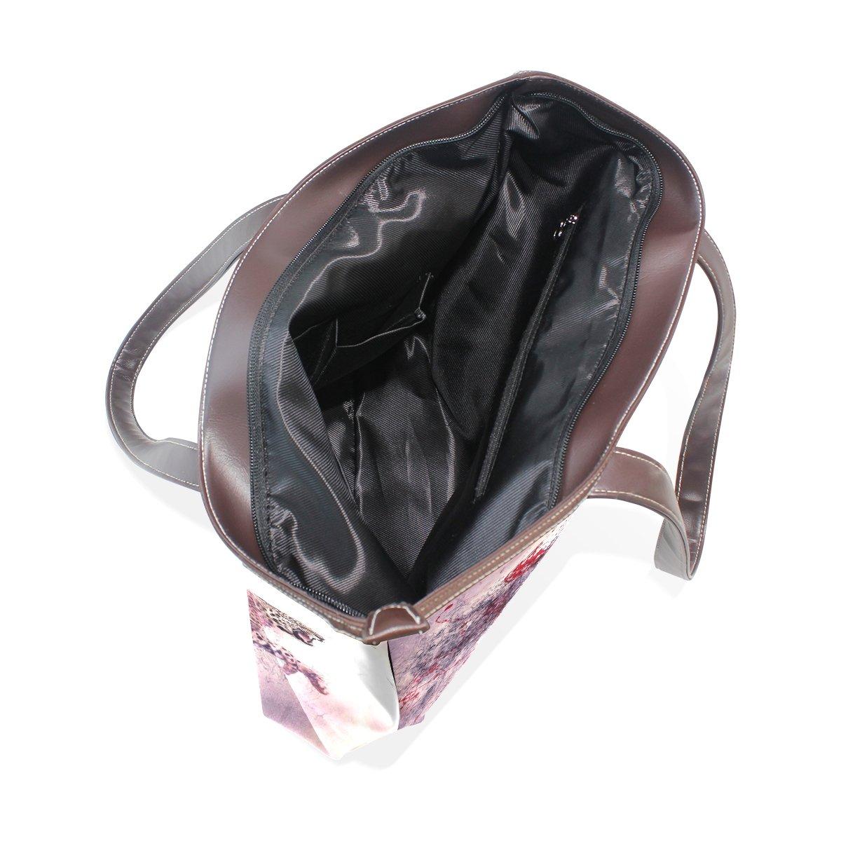 Bloody Leopard Lady Handbag Tote Bag Zipper Shoulder Bag for Shopping Travel