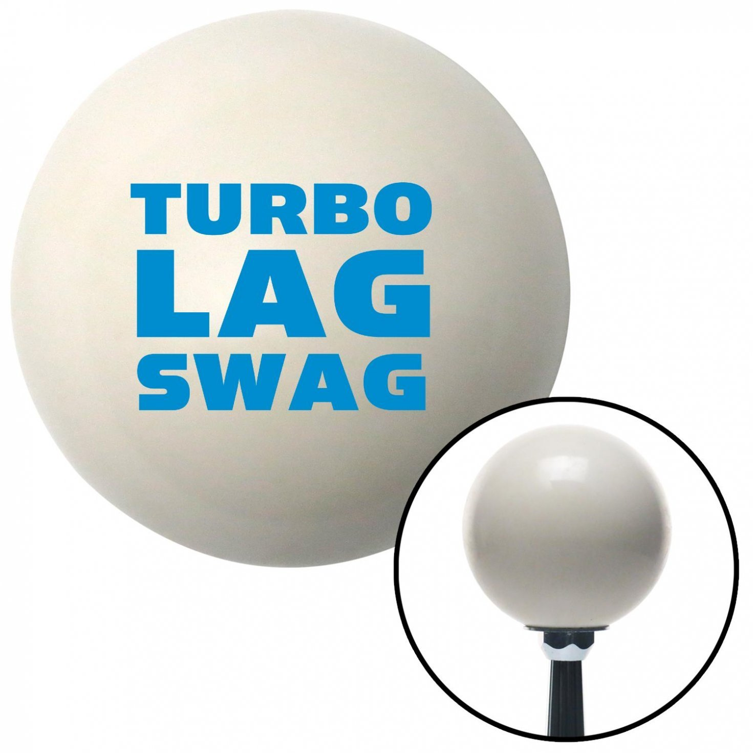 American Shifter 34453 Ivory Shift Knob with 16mm x 1.5 Insert Blue Turbo Lag Swag