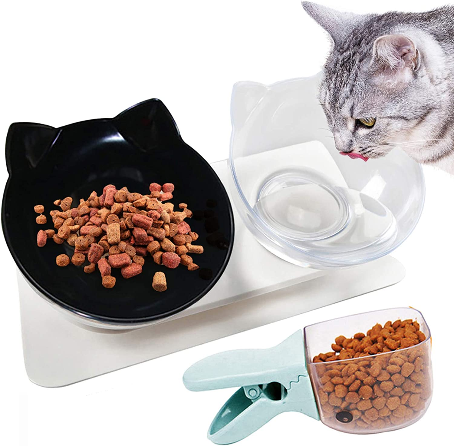 Legendog Cat Bowls,15°Tilted Cat Food Bowl Double Cat Dishes, Cat Feeder Cat Feeding Bowl Raised with Stand, Cat Food Water Bowl for Cats and Small Dog
