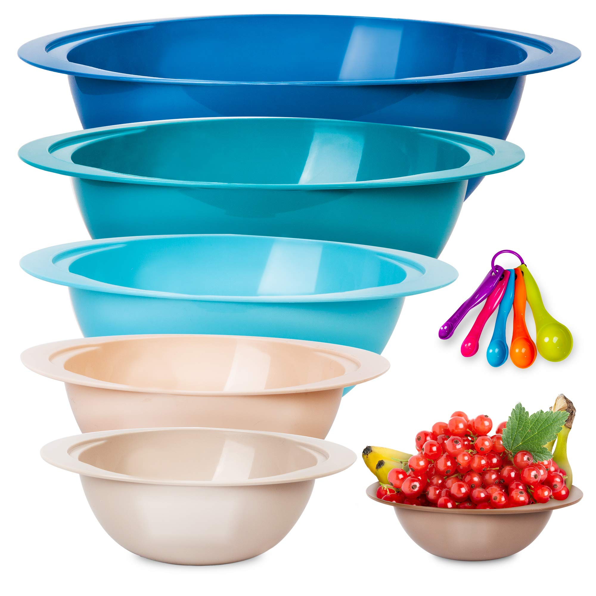 MONKA Plastic Mixing Bowl Set – 6 Stackable Nesting Bowls + 5 Measuring Spoons for Cooking & Baking – Small and Large Plastic Bowl Cooking Supplies for Serving, Popcorn, Salad, Meal Prep, More