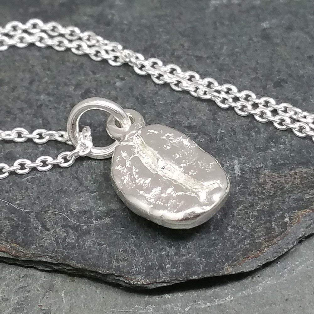 925 Sterling Silver 18 Coffee Bean Charm Necklace