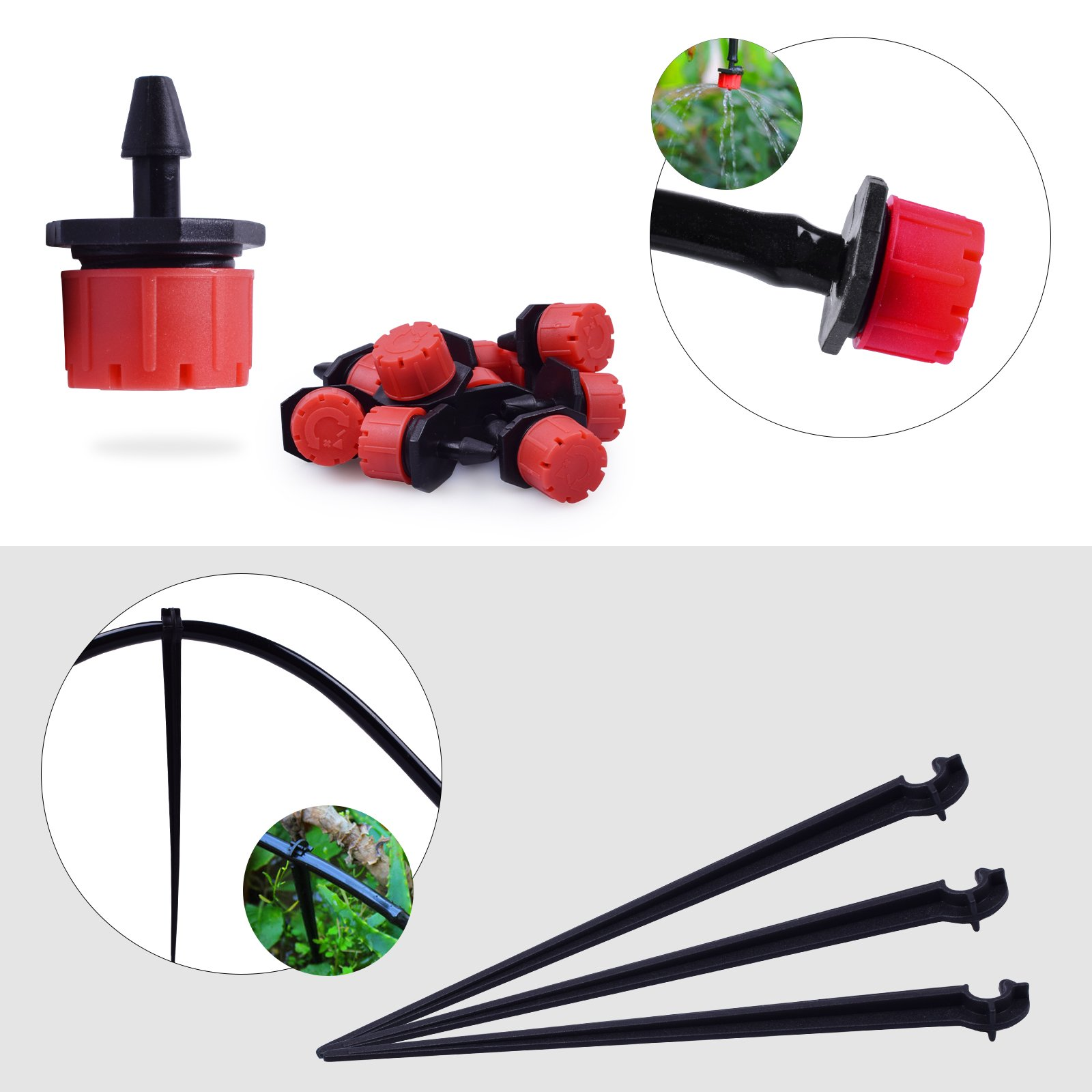 "MIXC 1/4-inch Drip Irrigation Kits Accessories Plant Watering System with 50ft 1/4"" Blank Distribution Tubing Hose, 20pcs Dripers, 20pcs Barbed Fittings, Support Stakes, Quick Adapter, Model: GG0C"