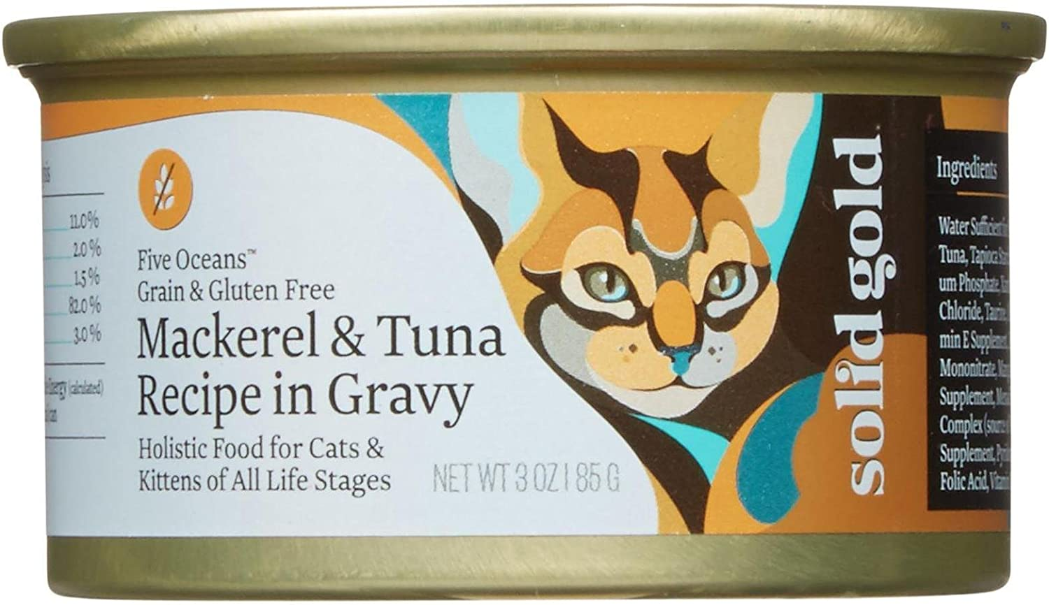 Solid Gold Five Oceans Holistic Wet Cat Food, Mackeral And Tuna Recipe In Gravy, 3 Oz Can, 12 Count