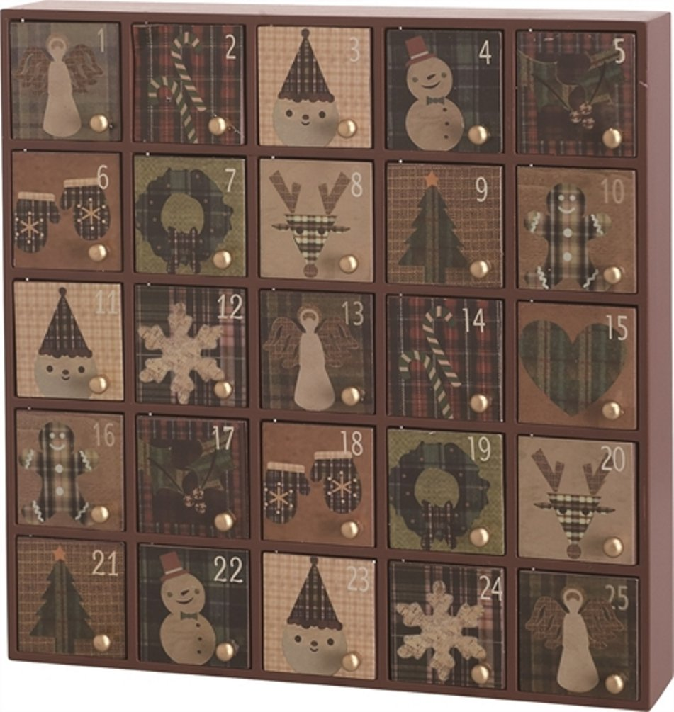 Wooden Rustic Style Tabletop Holiday Advent Calendar