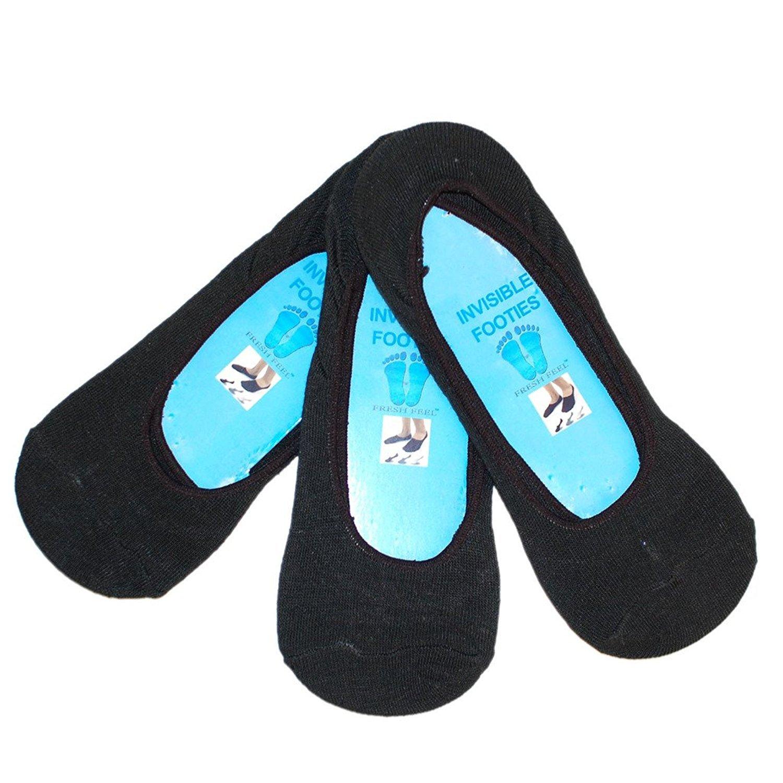 3 ladies Invesible socks-Trainer liner-Shoe liner-BLACK 4-7-invisible