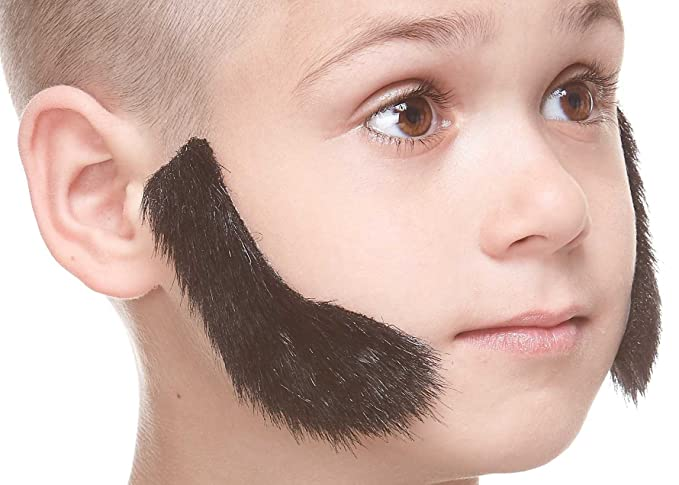 Facial Hair for Kids Self Adhesive Novelty Small L Shaped False Mutton Chops Mustaches Fake Sideburns
