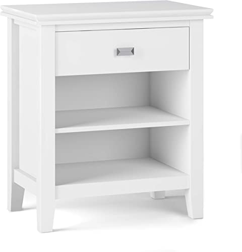 Simpli Home Artisan Bedside Table Night Stand, Small Parcel, White