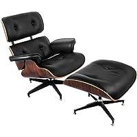 SucceBuy Fauteuil Lounge Avec Repose-pieds 7 Couches De Placage Chaise Longue Capacité De 330lbs Chaise Avec Pied