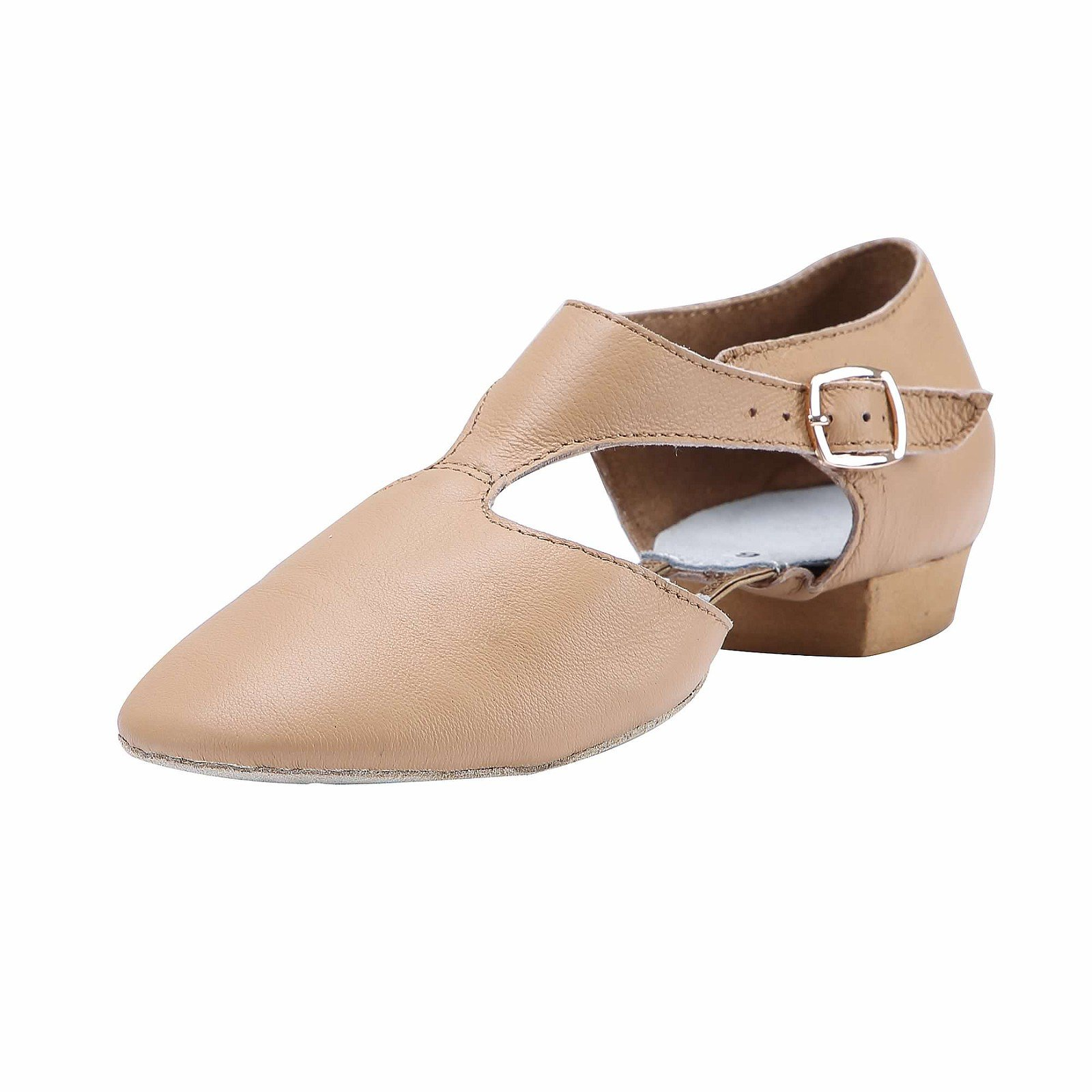 Linodes Women's T-Strap Leather Upper Jazz Shoe Split Sole with Elastics to Connect Brown 7M