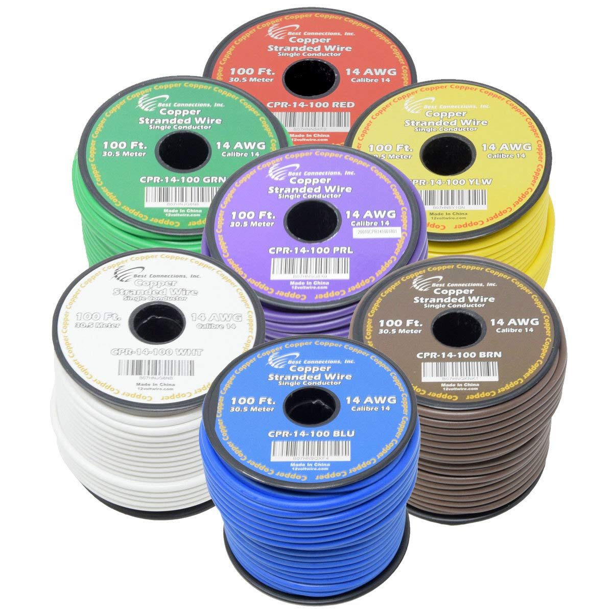 Best Connections 14 AWG Pure Copper Stranded 7-Way Trailer Wire - 7 Rolls 100' Each True Gauge Power Ground Remote Primary Hook-Up Cable 12-Volt