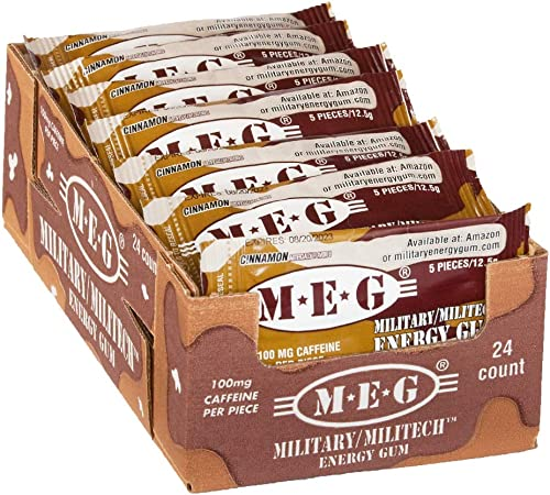 MEG – Military Energy Gum 100mg of Caffeine Per Piece Increase Energy Boost Physical Performance Cinnamon 24 Pack 120 Count