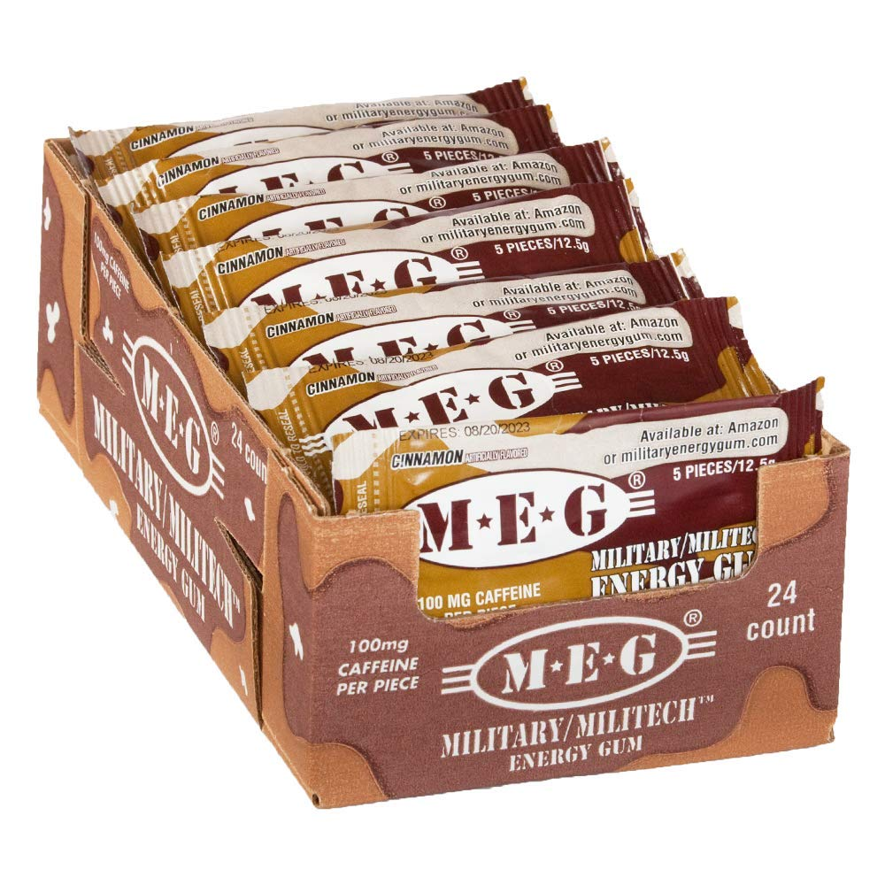 MEG - Military Energy Gum | 100mg of Caffeine Per Piece + Increase Energy + Boost Physical Performance + Cinnamon 24 Pack (120 Count) by MEG
