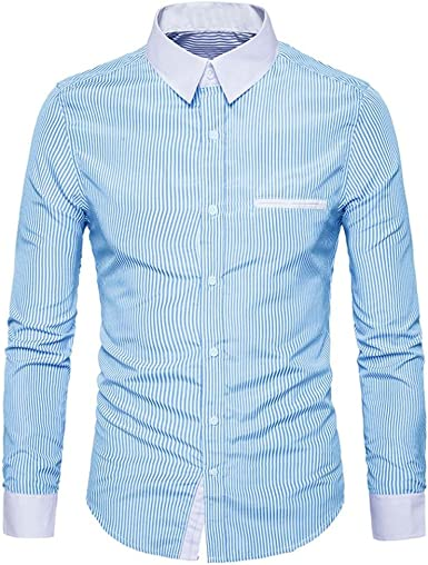 YYear Mens Buttons Slim Fit Business Striped Lapel Long Sleeve Dress Shirt