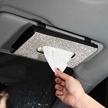 Universal Quality Car Auto PU Leather Clip Sun Visor Tissue Napkin Case Holder