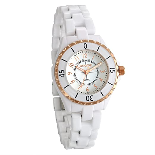 JewelryWe Reloj Blanco para Mujer Reloj de Pulsera Cerámica Blanco Oro Rosa, Reloj Fino Elegante para Chicas, Regalo Original de Navidad: Amazon.es: Relojes