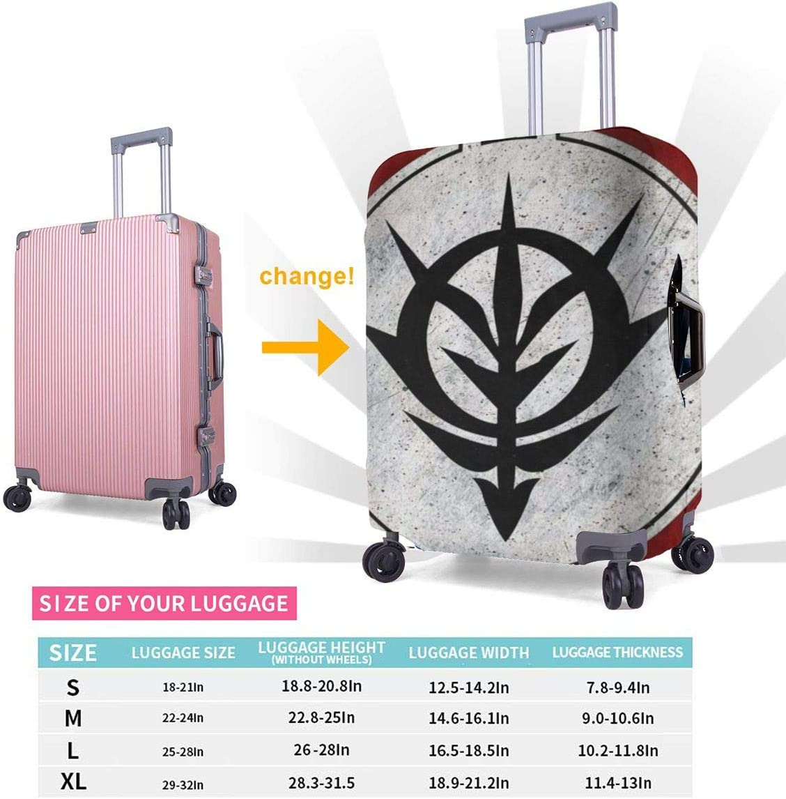 Gundam Logo Suitcase Protector Travel Luggage Cover Fit