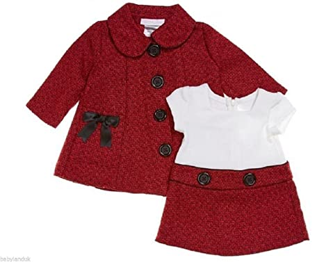 51e38c9193e2 Baby Girls Toddler Smart Traditional Spring Summer Red   White Tweed ...