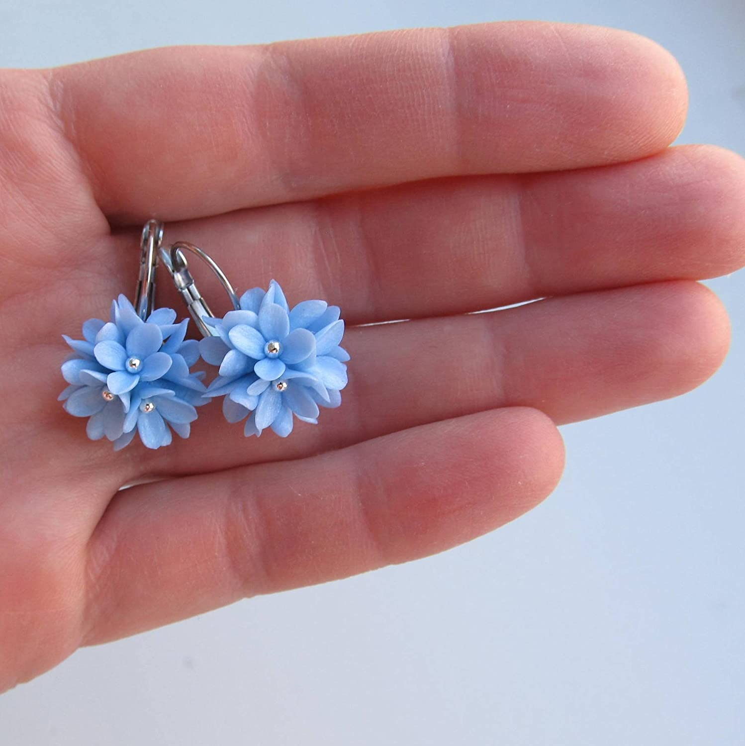 Handmade Sky blue flower dangle earrings Hypoallergenic Surgical steel french lever back drops Silver colored Cluster clay jewelry