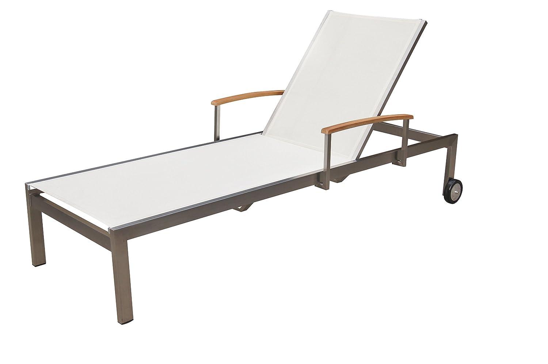 OUTFLEXX moderne Rollliege aus solidem Edelstahl, Liegefläche aus hochwertigem Textilene in weiß, 195,5 x 74 x 54 cm, stufenlos verstellbare Rückenlehne, Gasdruckfeder, wetterfest und korrosionsbeständig