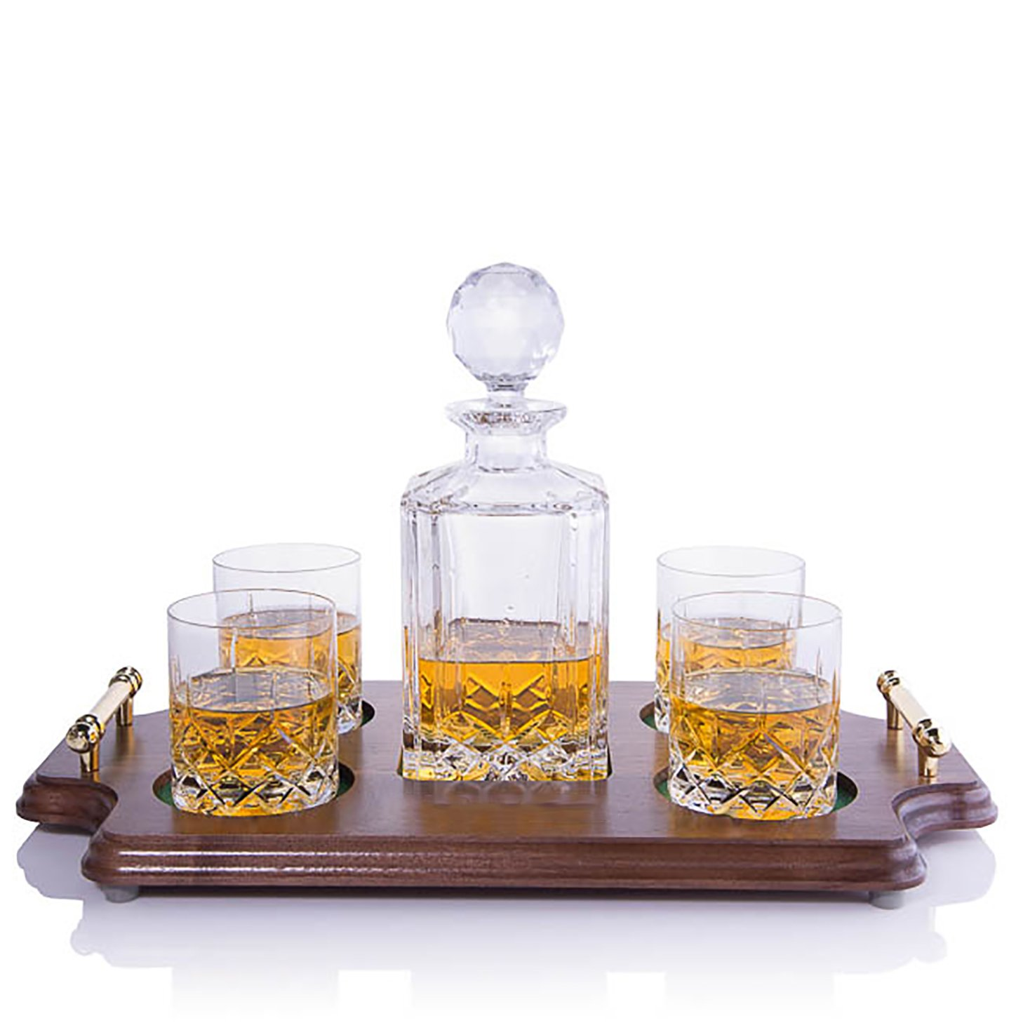 Crystalize Cut Crystal Whiskey Decanter and Glass Set with Wood Tray