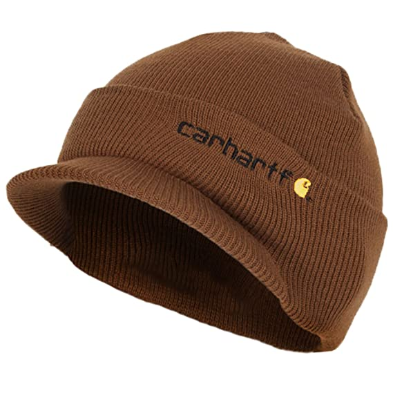 9af152d8360 Carhartt Winter Hat With Visor Brown Cha164brn Mens Beanie With