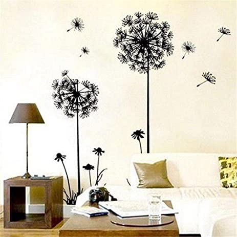 Merveilleux Theme Decal Dandelion Butterfly Removable Wall Stickers, 165 X 130 Cm, Black