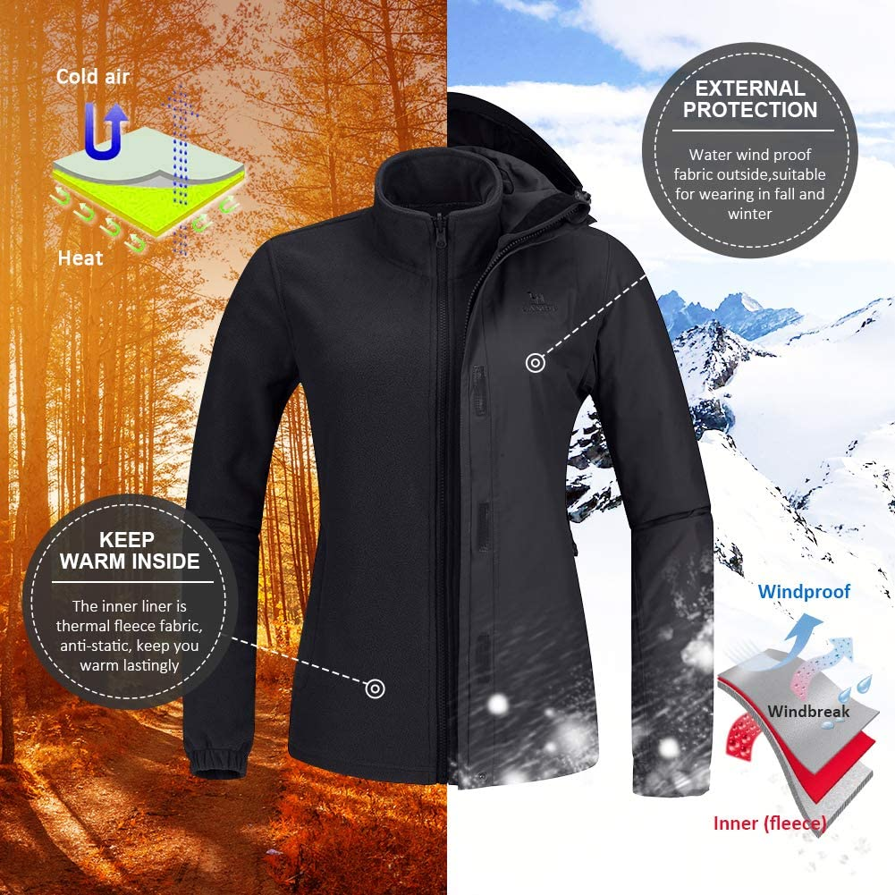 CAMEL Outdoor Jacket Women Winter Ski Jacket Windbreaker 3 in 1 Waterproof Hooded Rain Coat for Traveling Climbing Hiking 2.0