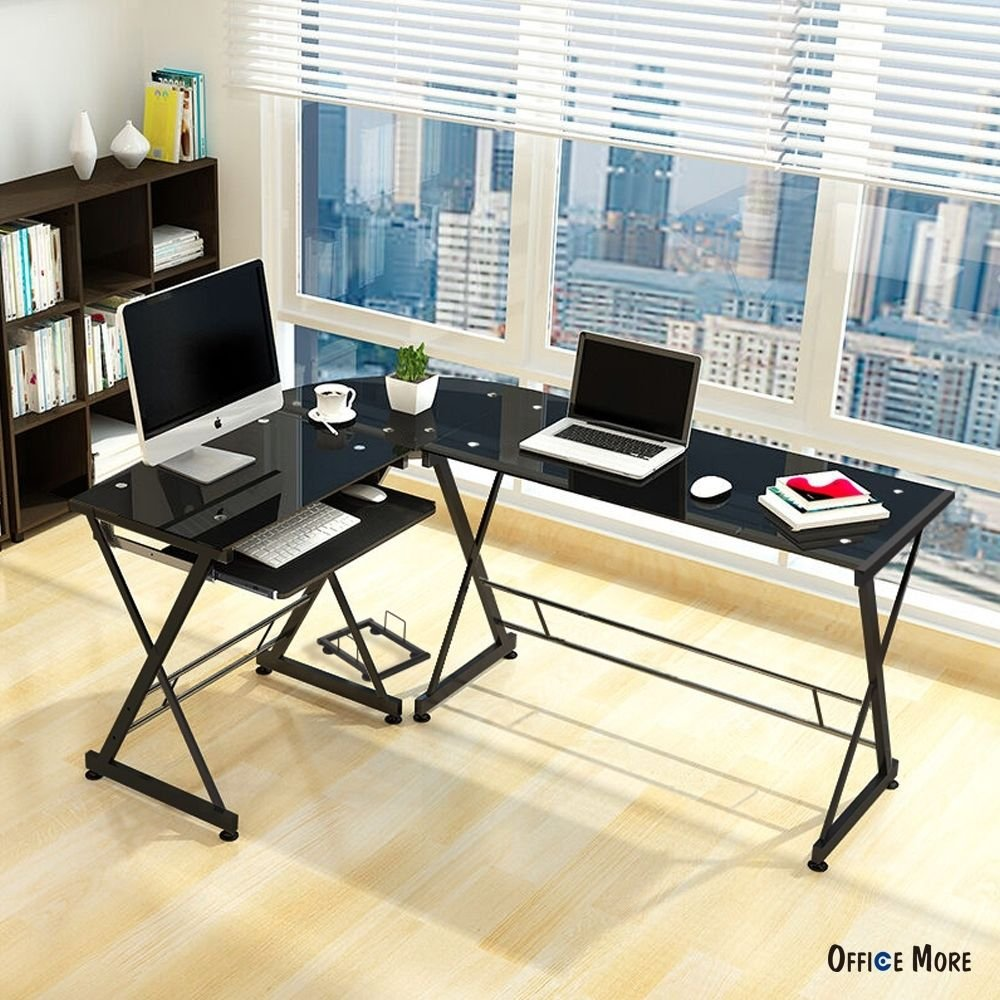 Amazon com l shape corner computer desk pc glass laptop table workstation home office black kitchen dining