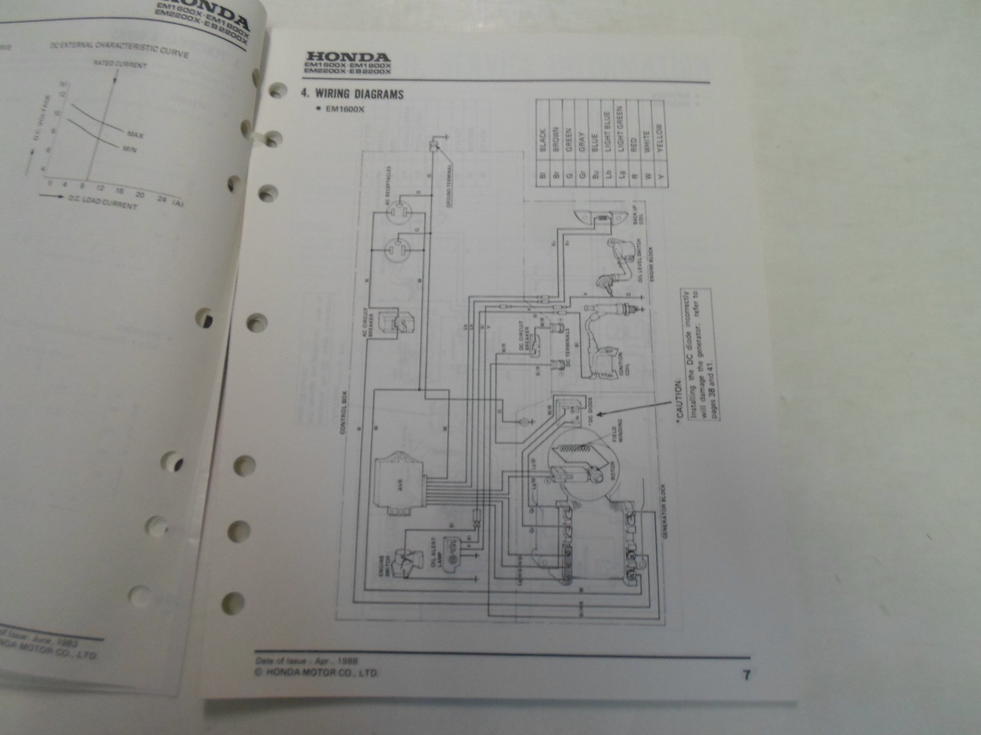 1983 Honda Em1600x Em1800x Em2200x Eb2200x Generator Shop Manual Schematics Loose Leaf Motor Co Books
