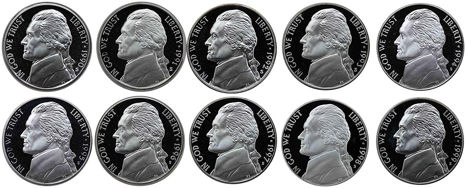 All S Mintmark 1990 to 1999 Jefferson Nickels Proof Gem Proof 10 Coins