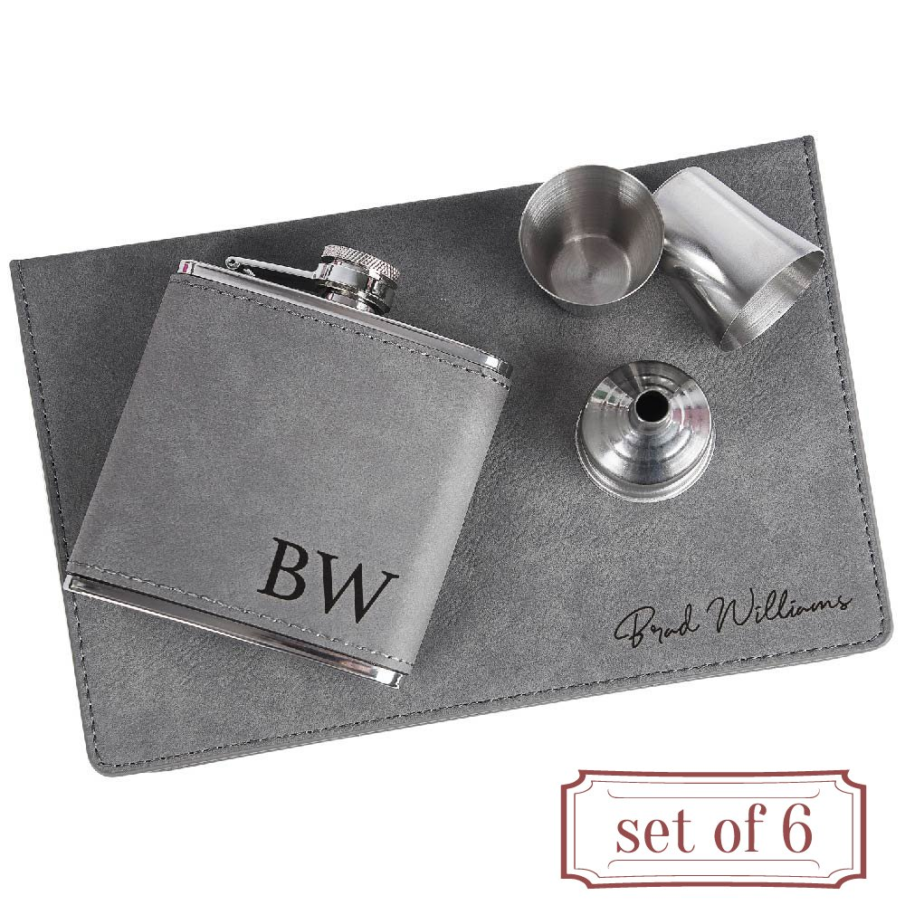 Set of 6 - Personalized 6oz Leatherette Flask Groomsmen Gift Set Engraved Flask Groomsman Gifts Personalized Flask Groomsman Kit, Wedding Favor Customized Flask for Liquor | Charcoal #2